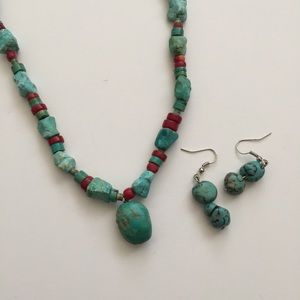 Jewelry - Turquoise and red stone necklace and earring set
